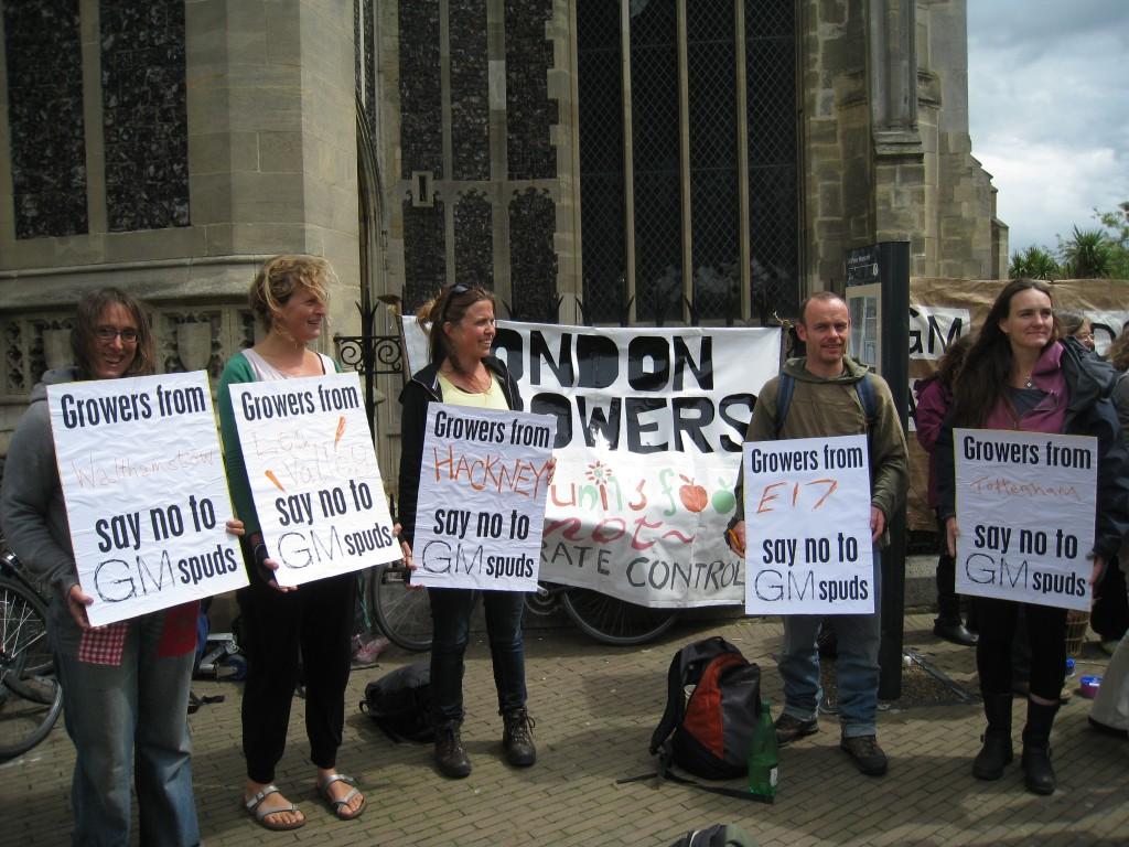 London growers coming together to oppose GM crop trials at a national action in Norfolk, July 2011.